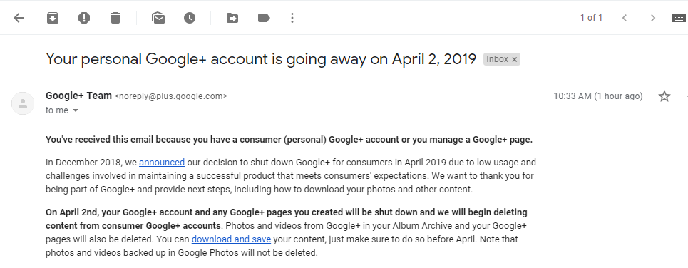 GOOGLE+ ACCOUNT IS ABOUT TO SHUT DOWN ON APRIL 2ND 2019