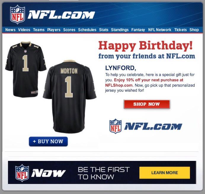 purchase cheap b4a6c 3fbb8 Happy birthday from the NFL — with a personalized jersey photo