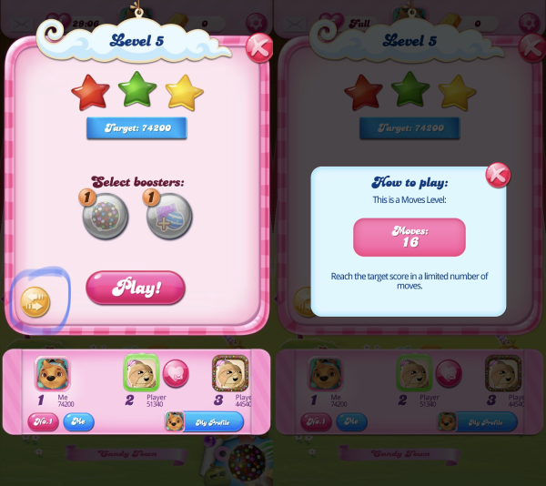 The level screen, showing you have to find the levels win criteria