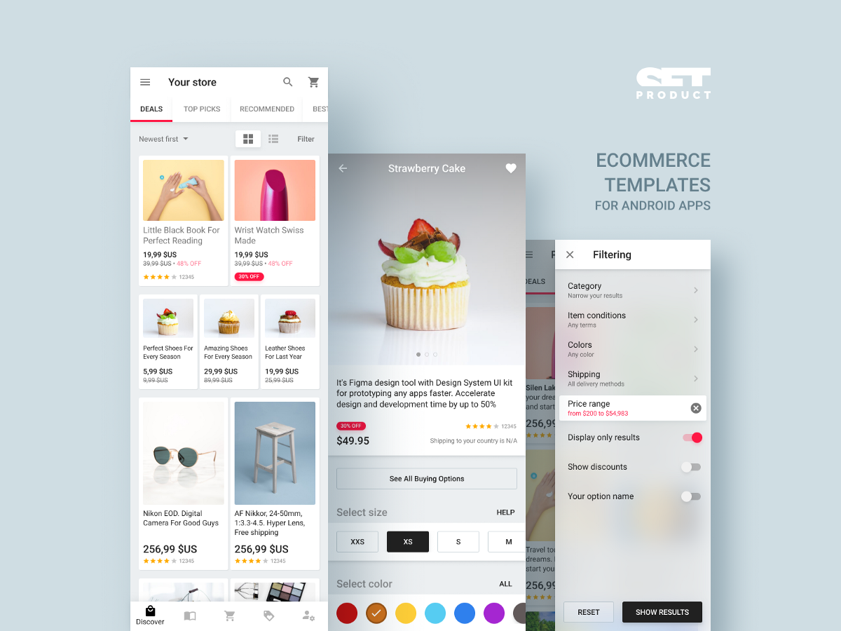 Shopping app for Android  UI kit with material templates
