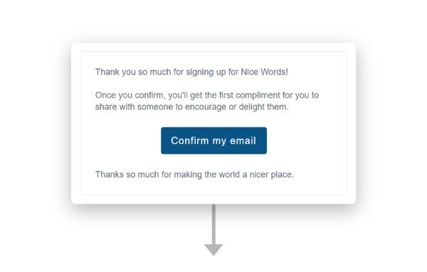"""A screenshot of the Nice Words confirmation email reading, """"Thank you so much for signing up for Nice Words…"""""""