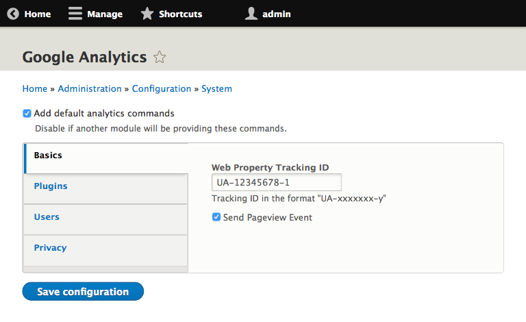 A different approach to Google Analytics for Drupal 8