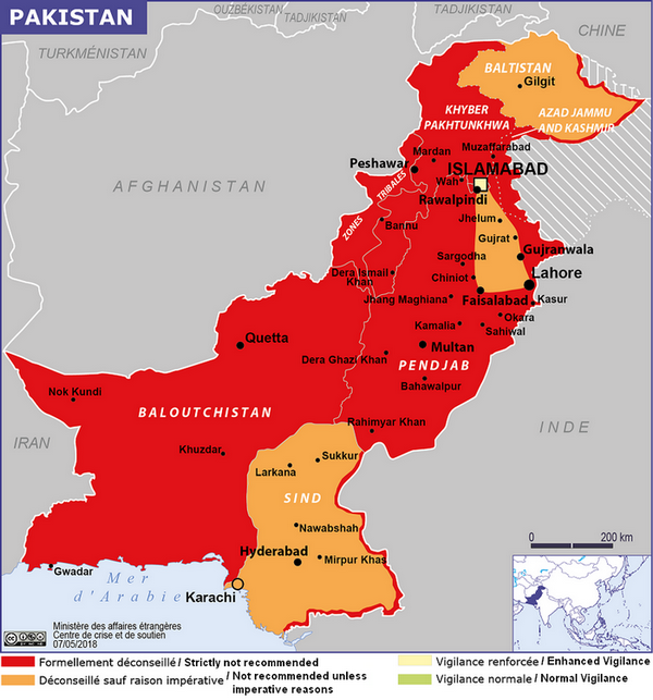 Recommendations for travellers—French MFA—May 2018—The Hunza Valley goes north from Gilgit to the Chinese border