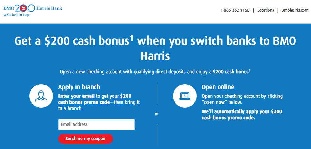 Free $200 with New BMO Harris Checking Account - AskSebby