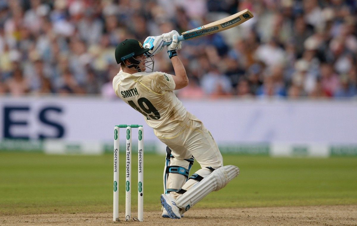 Smith plays a shot during ashes 2019