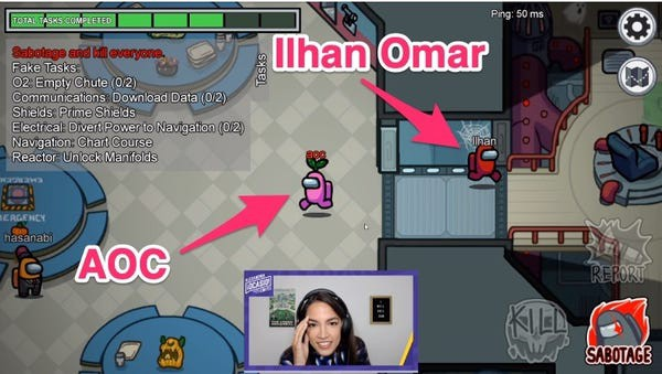A screenshot of an Among Us game pointing to Congresswoman Alexandria Ocasio-Cortez and Ilhan Omar's in-game players.