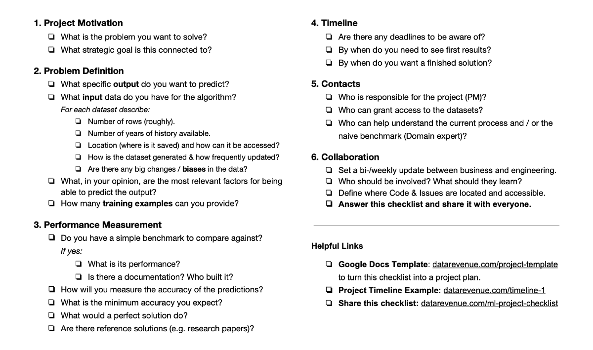 The Machine Learning Project Checklist