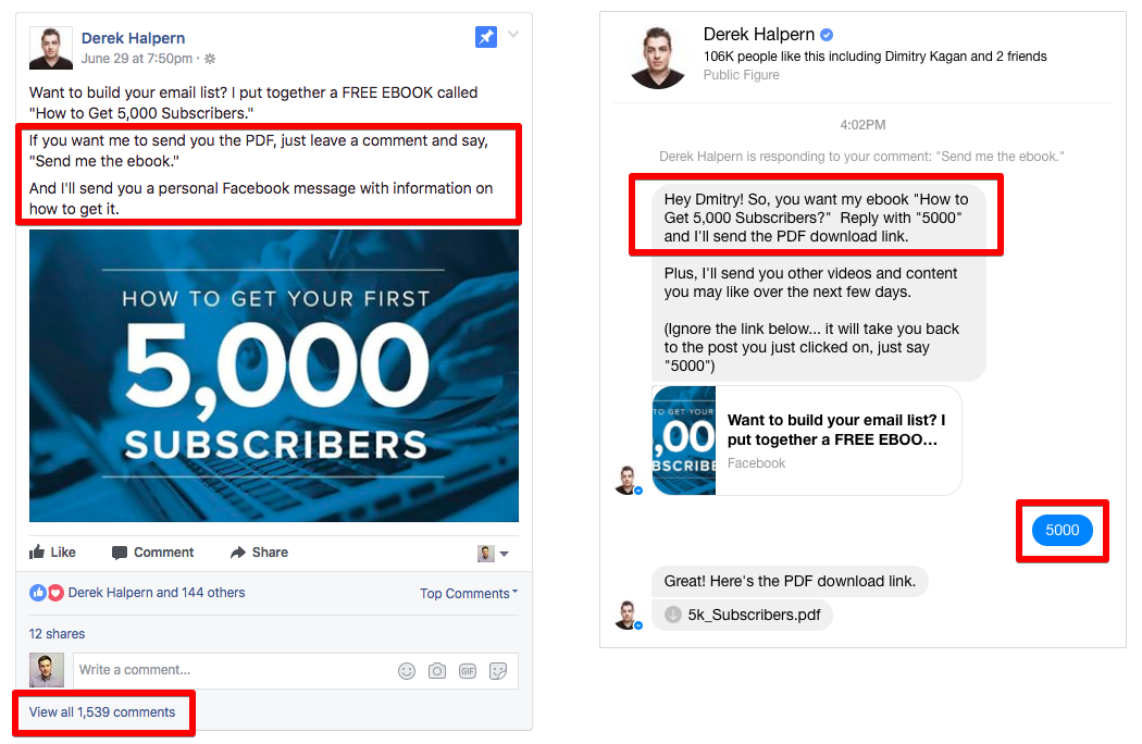 How to setup a Facebook Comment-To-Messenger bot for lead generation