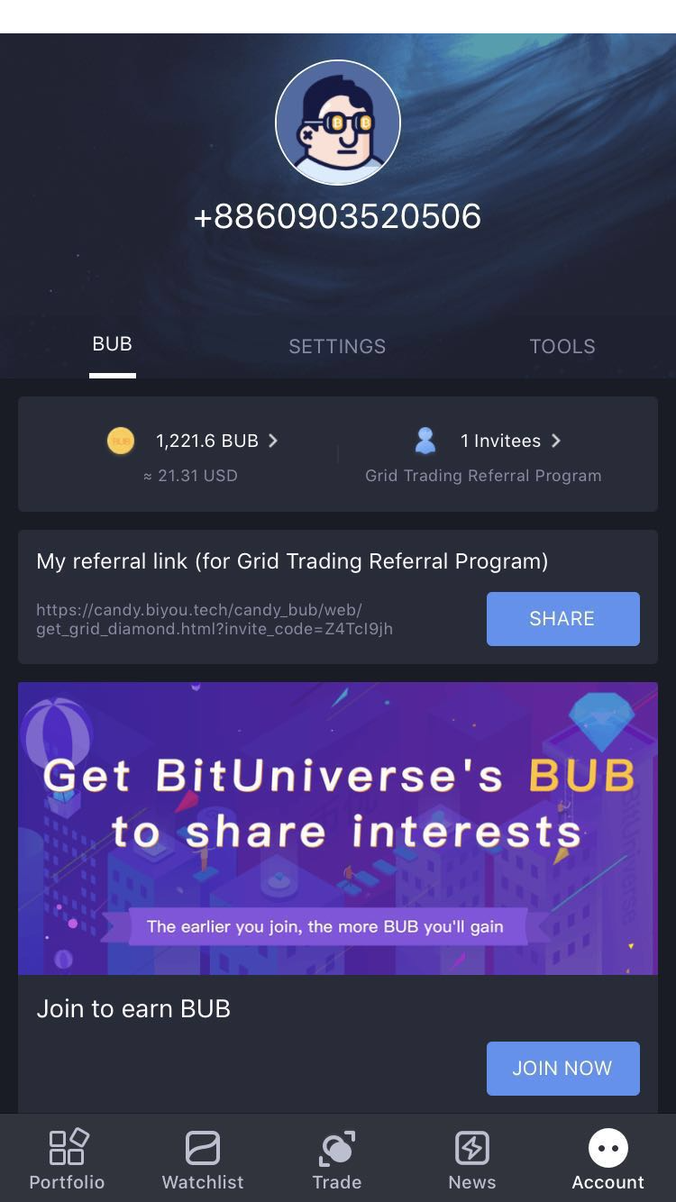 Referral Program of BitUniverse Grid Trading Bot - BitUniverse