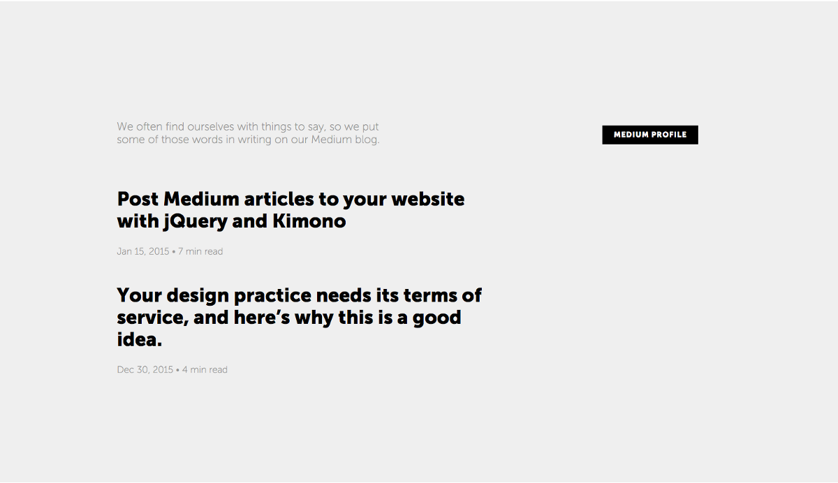 Post Medium articles to your website with jQuery and Kimono