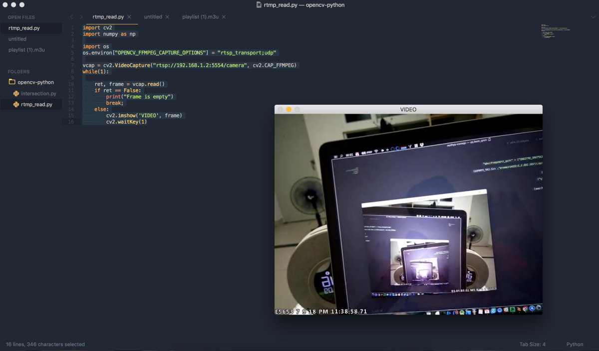 Opencv-python connect to android camera via rstp