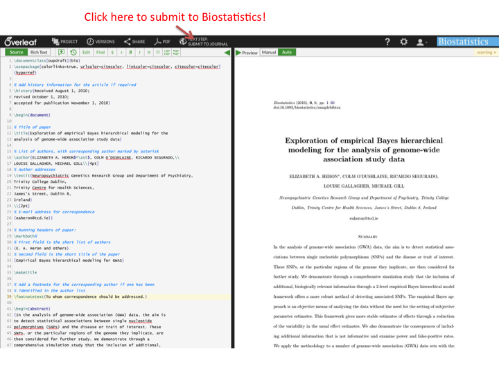 Button click Overleaf submission to Biostatistics