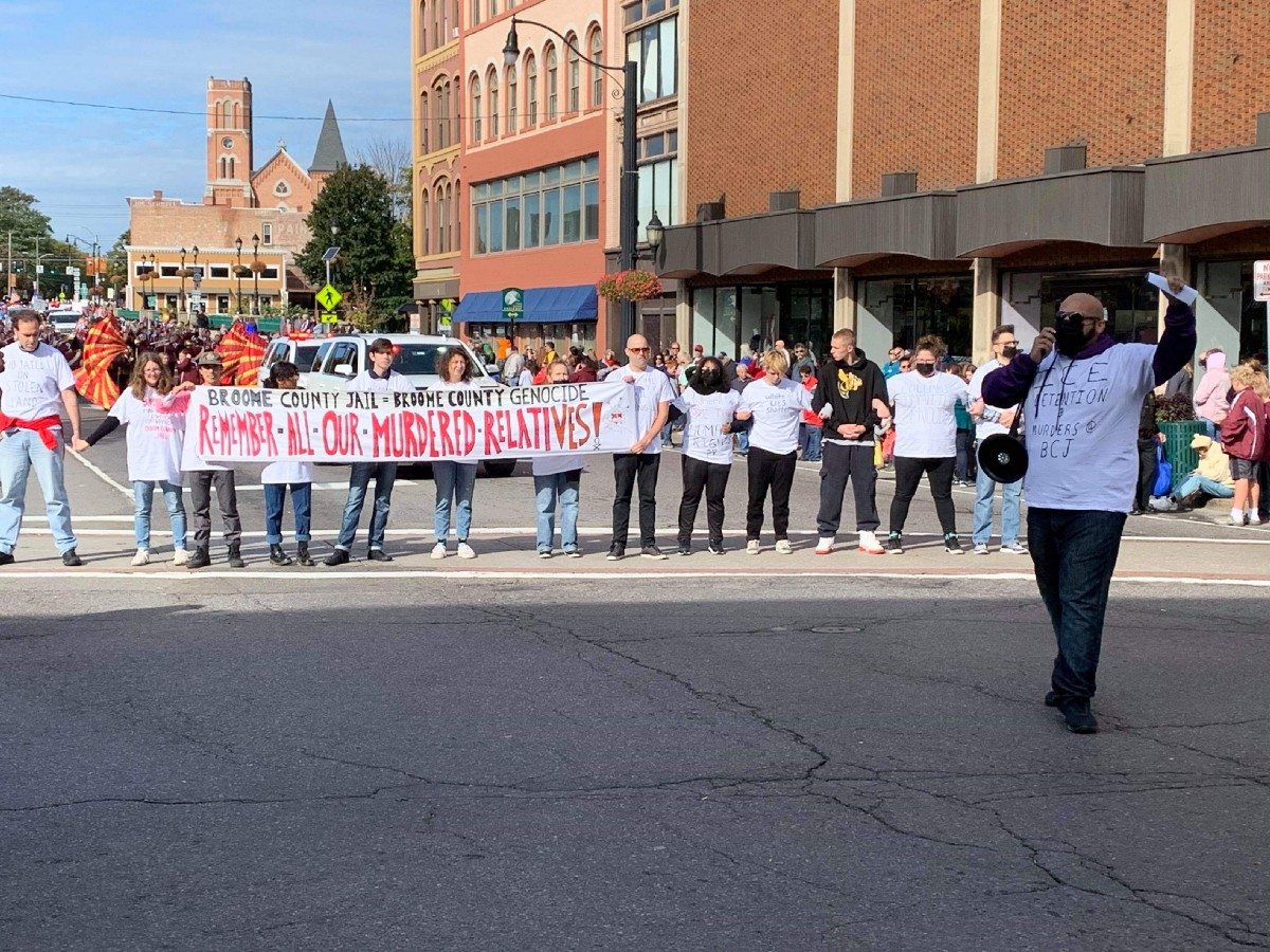 Protesters Disrupt Binghamton's Columbus Day Parade to Condemn Broome County Jail Deaths