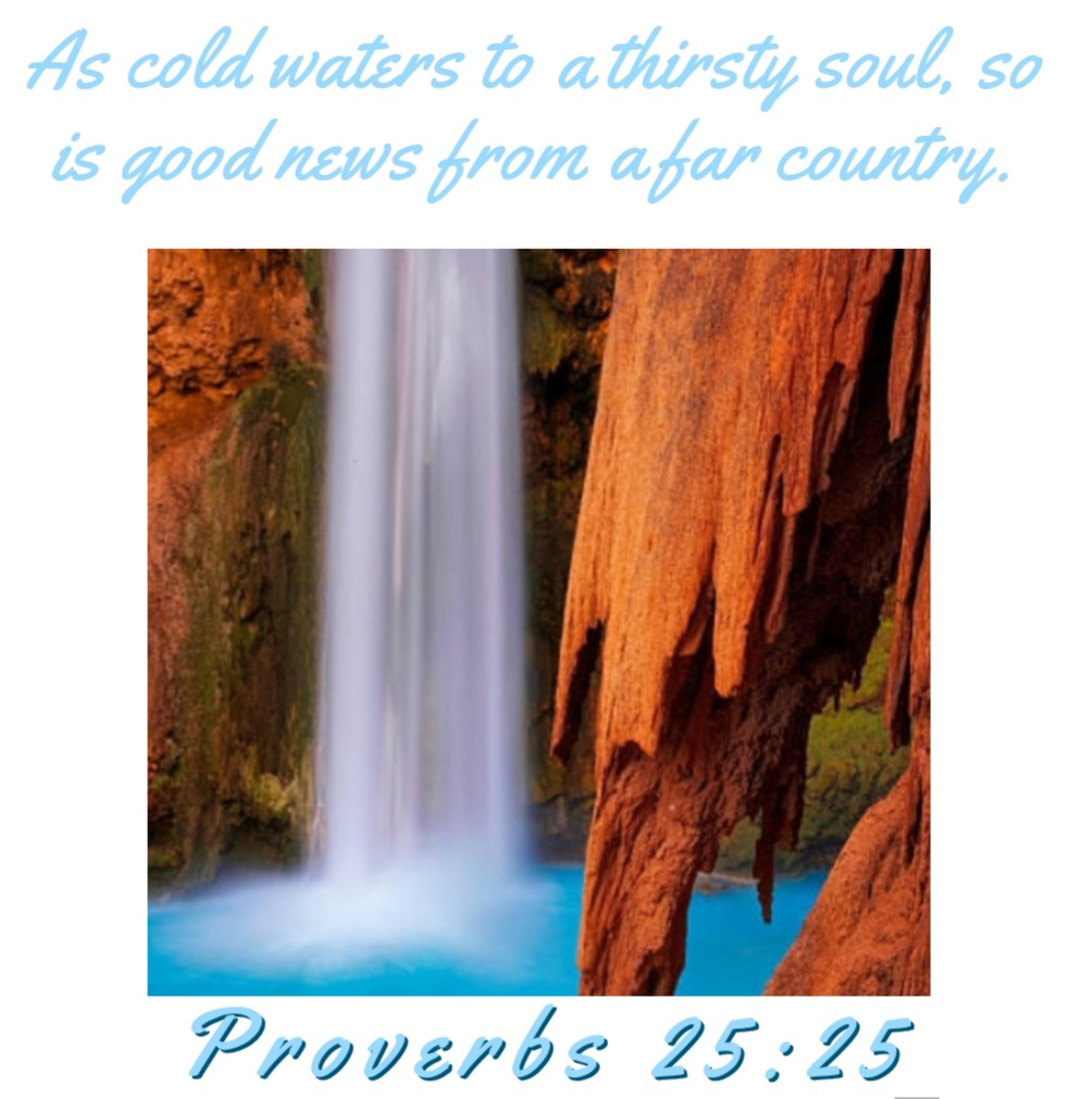 As cold waters to a thirsty soul, so is good news from a far