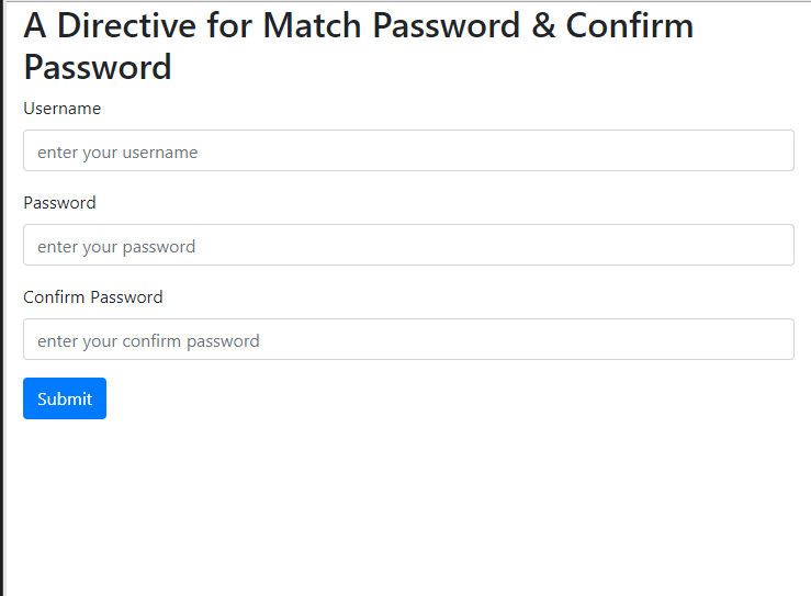 Angular 7 — Create a directive to match password and confirm password