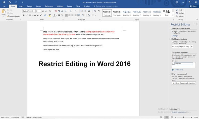 How to Set and Remove Restrict Editing in Word 2016 Document