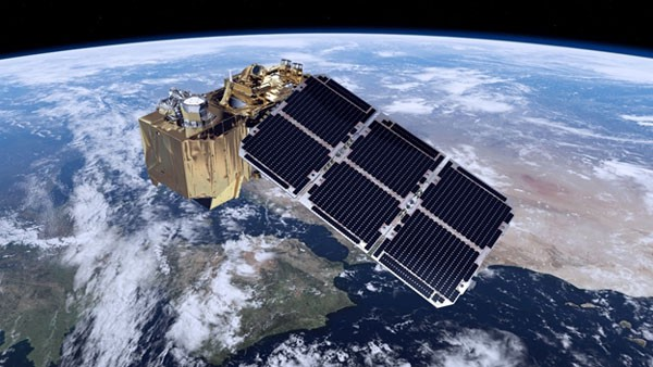 One of the two Sentinel-2 satellites flying over the Earth