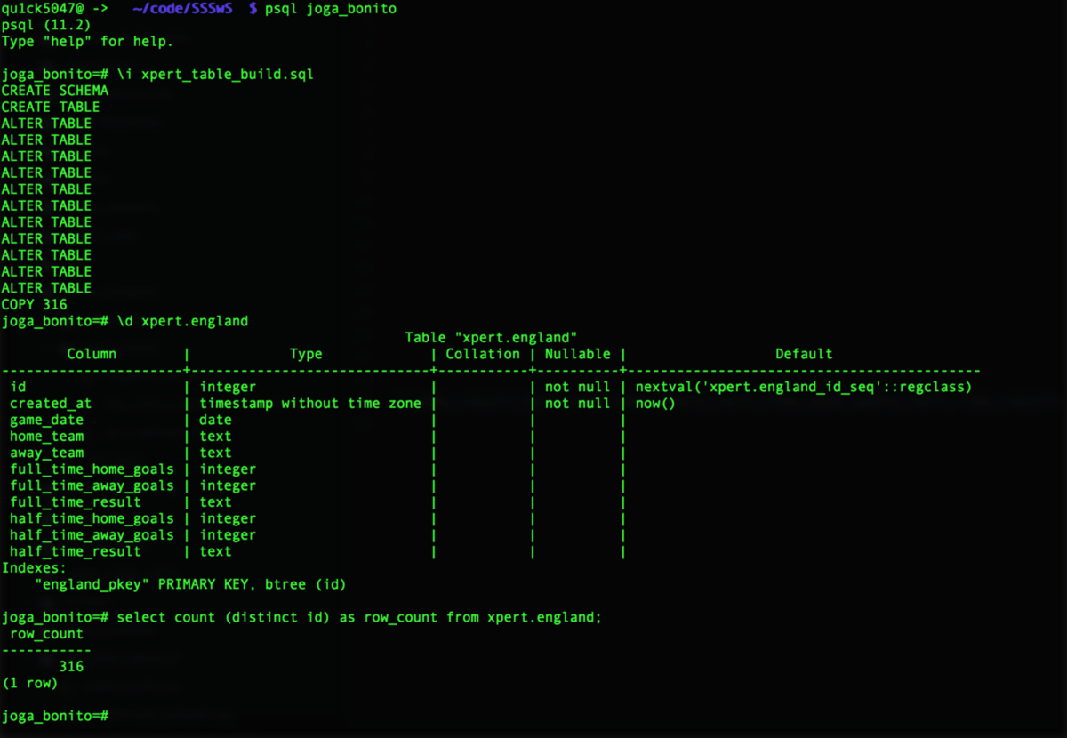 Create a table in PostgreSQL out of a CSV using Atom and psql  by