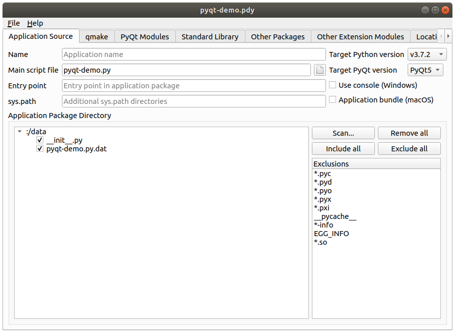 Packaging PyQt application using pyqtdeploy for both Linux