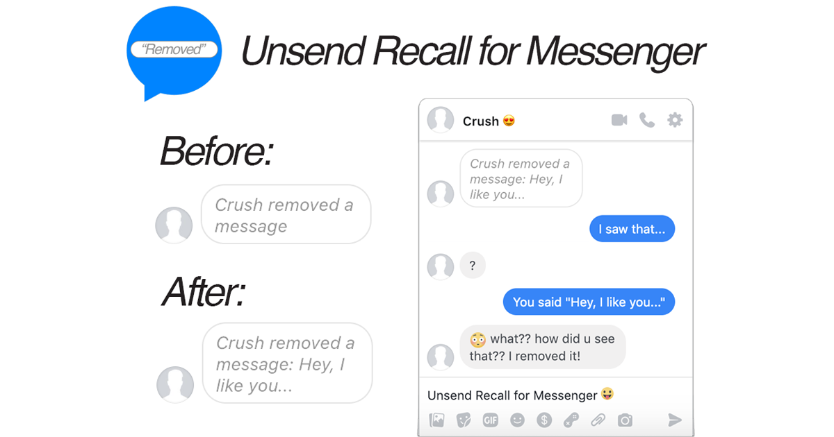 Unsend Recall for Messenger — Recalling removed messages in Facebook  Messenger   by Alec Garcia   Medium