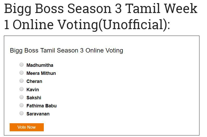Bigg Boss Tamil Season 3 Week 1 Online Voting - Info Stackflow - Medium