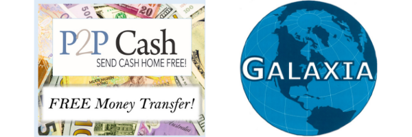P2P Cash and Galaxia Free Money Transfer Service