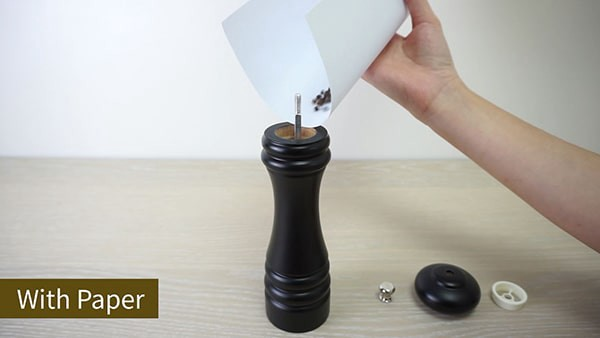 Use paper to refill salt and pepper mill
