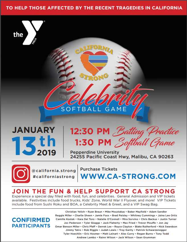 CALIFORNIA STRONG CELEBRITY SOFTBALL GAME SET TO TAKE PLACE ON