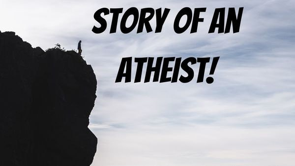 Story of an atheist. The picture depicts someone standing on a mountain, who looks down. He realizes that the realization he acquired is the paramount of his moving life, which will reflect in his personal freedom, and the power of decision.