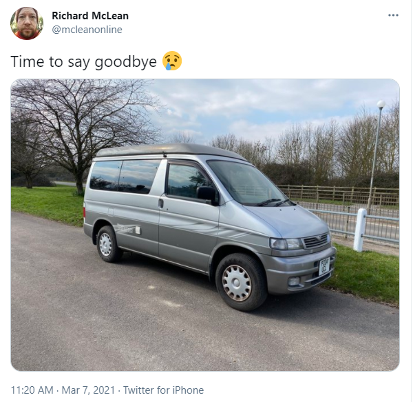 A photo of our old camper van, that we sold, Maisie