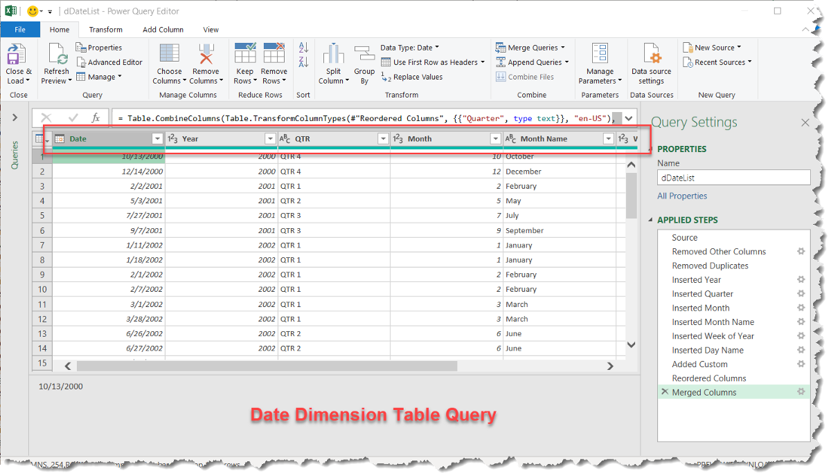 MS Excel — Use #PowerQuery to add a Dynamic Date Dimension table (Query) to your data sources