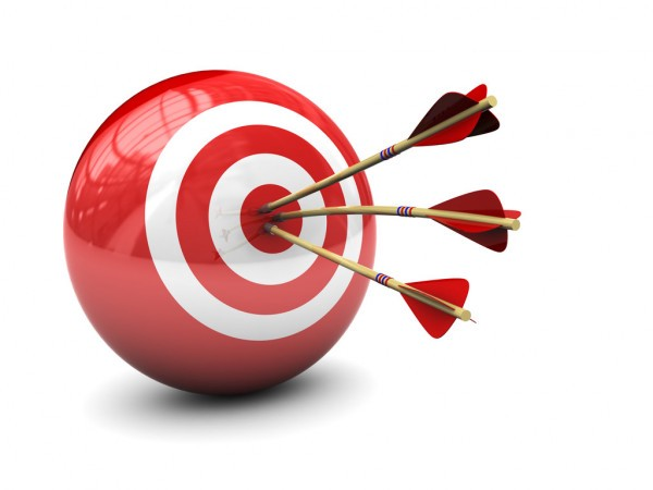 A red ball with 2 white concentric circles shows 3 arrow darts hitting the bullseye.