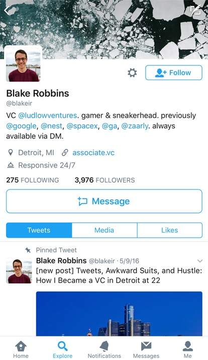 How to easily get a big message button on Twitter - Blake Robbins