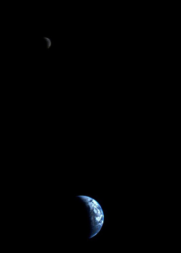 Real photo of Crescent-shaped Earth and Moon taken by Voyager 1 in 1977