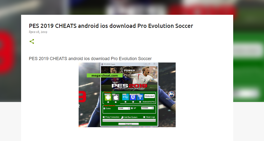blogger show you pro evolution soccer 2019 hack cheats