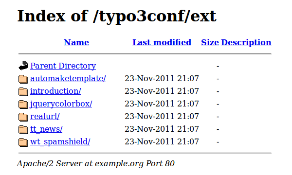 An example of Directory Indexing