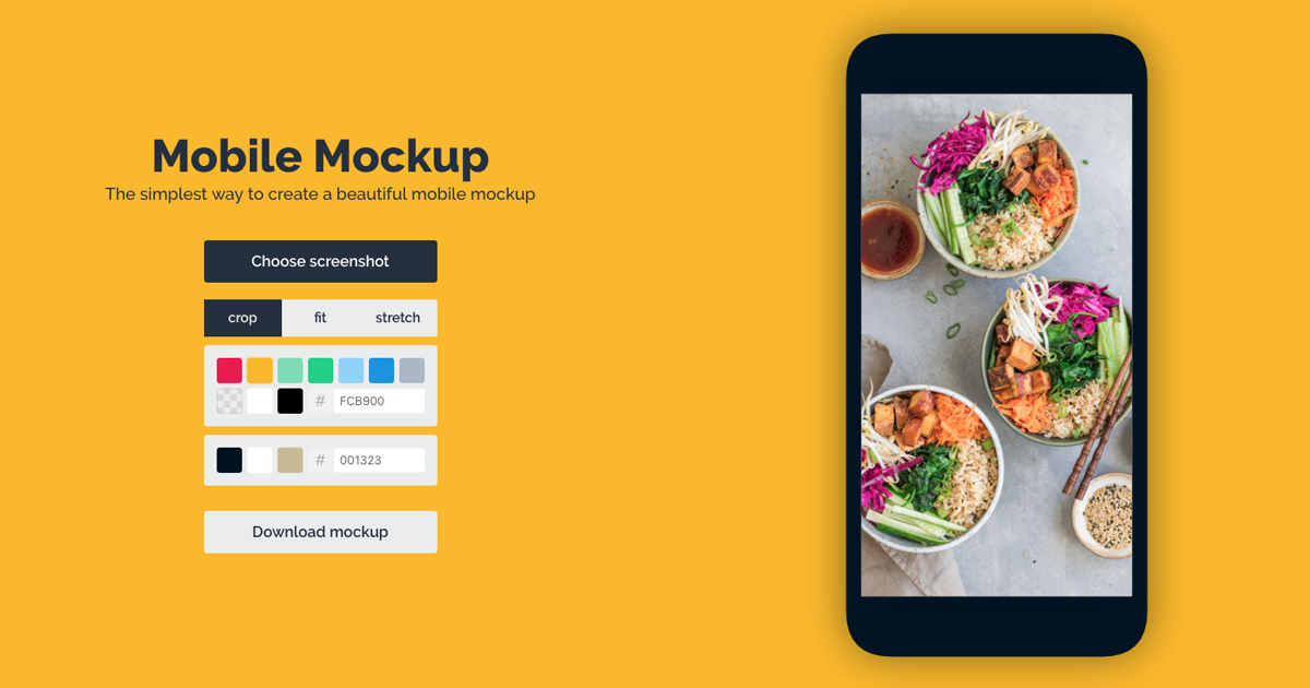 Beautiful mobile screenshots with the Mobile Mockup Maker