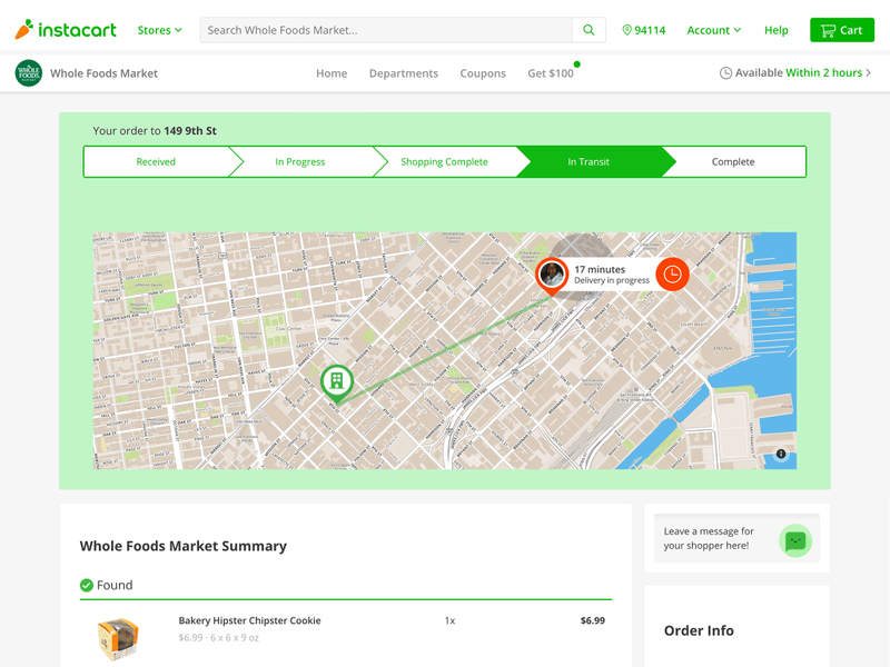 Instacart live order tracking - Points of interest