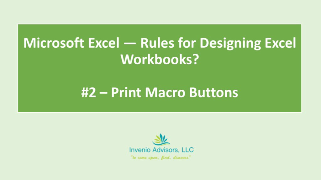 Microsoft Excel — Rules for Designing Excel Workbooks? — Part 2