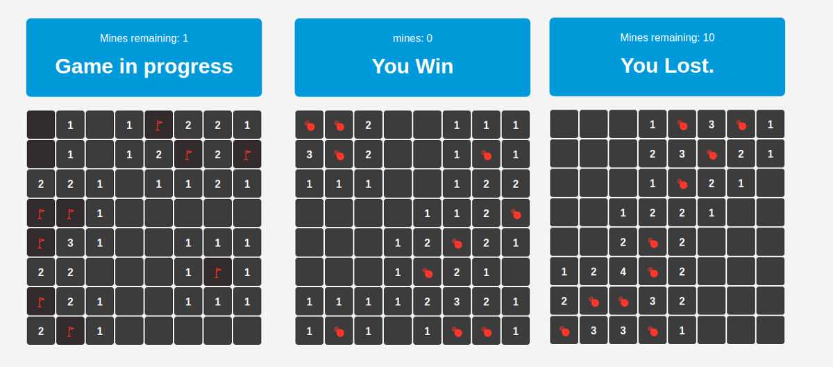 Learning React.js by building a Minesweeper game