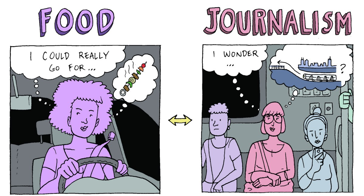 A comic treatment of a tragically broken process in journalism
