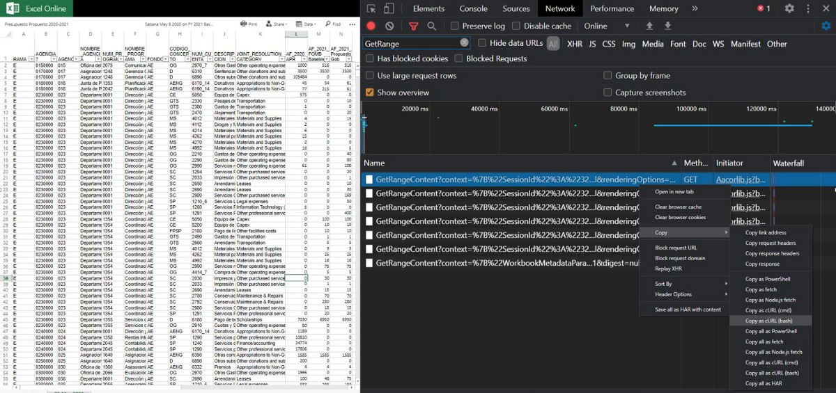 Scraping Excel Online Read-Only File With Requests