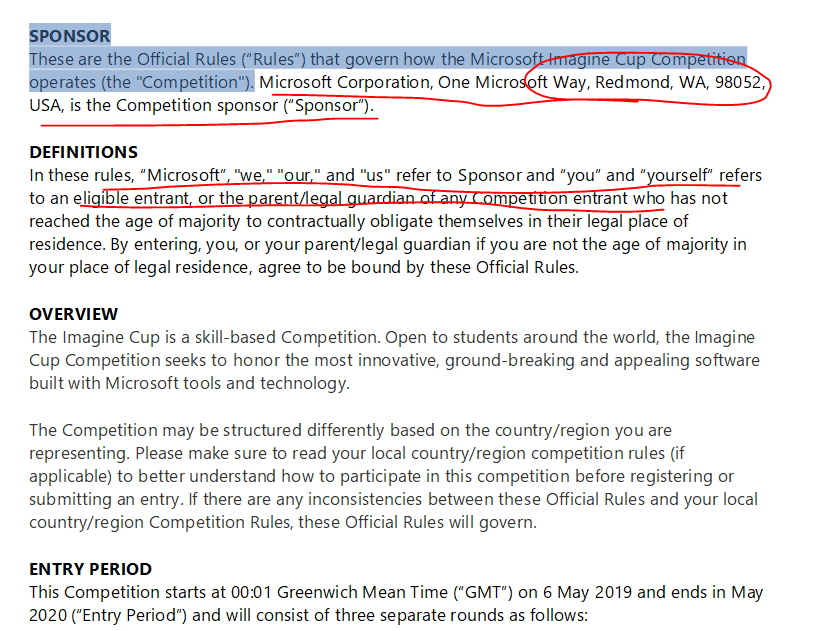 Official Rules & Regulations Imagine Cup 2020 Season