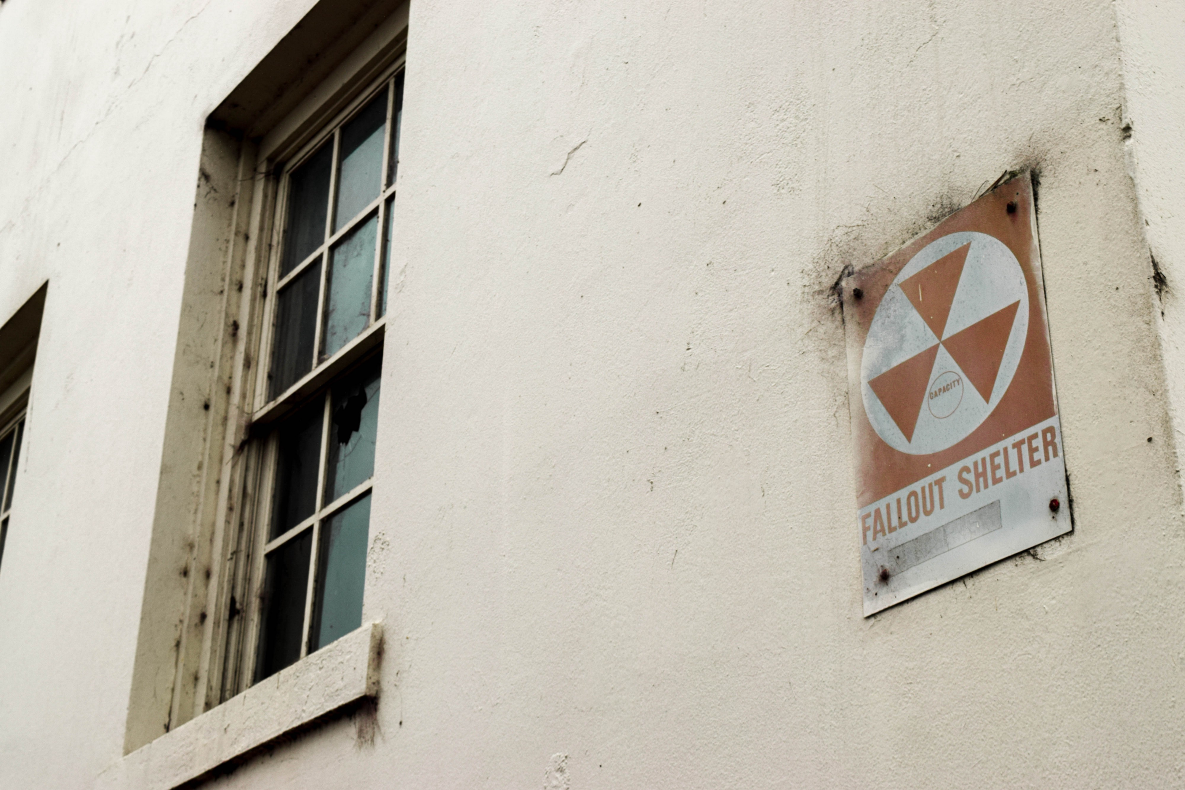 Sign marking the location of a nuclear fallout shelter