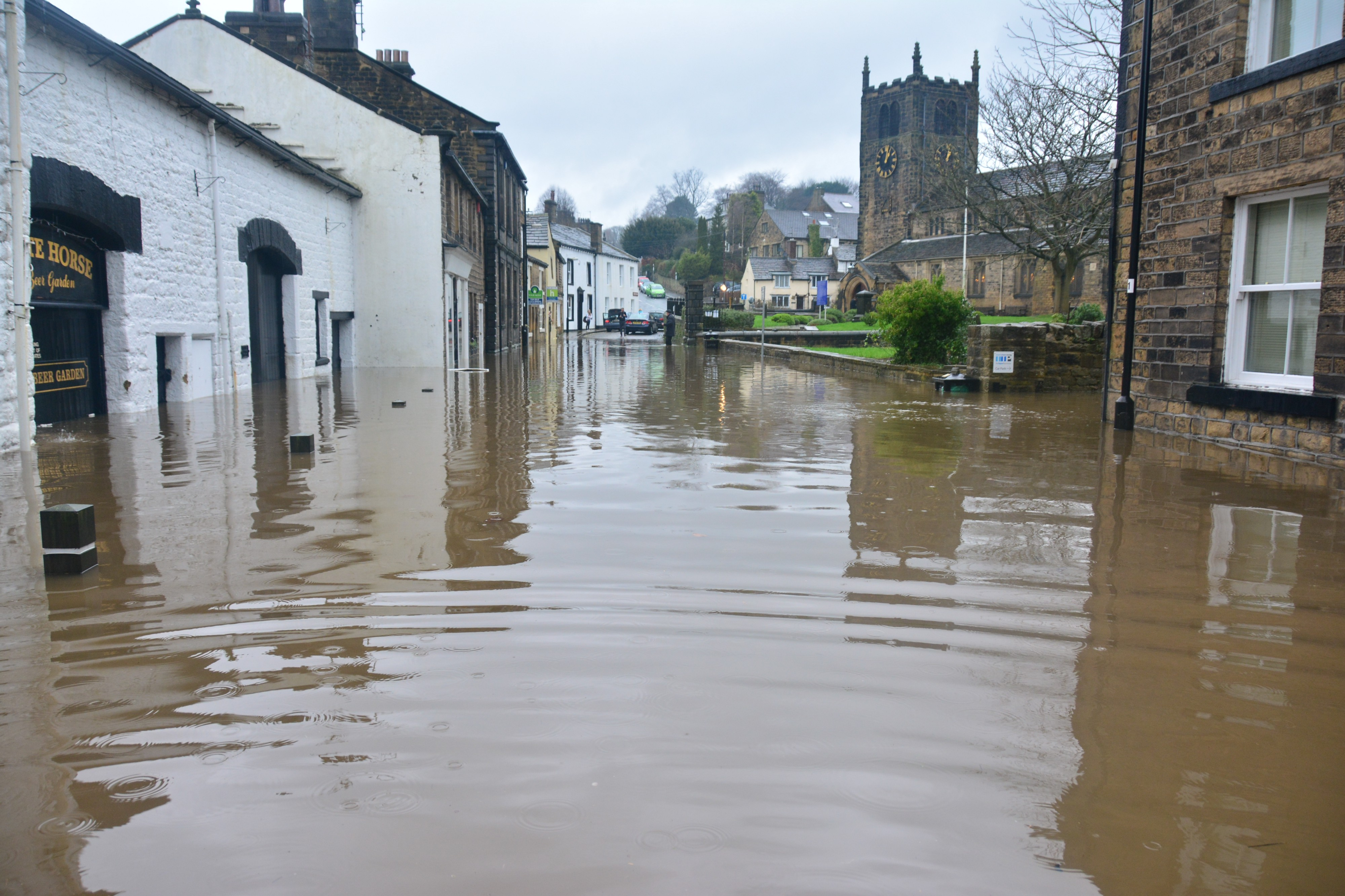 An image of a town with flooded streets.