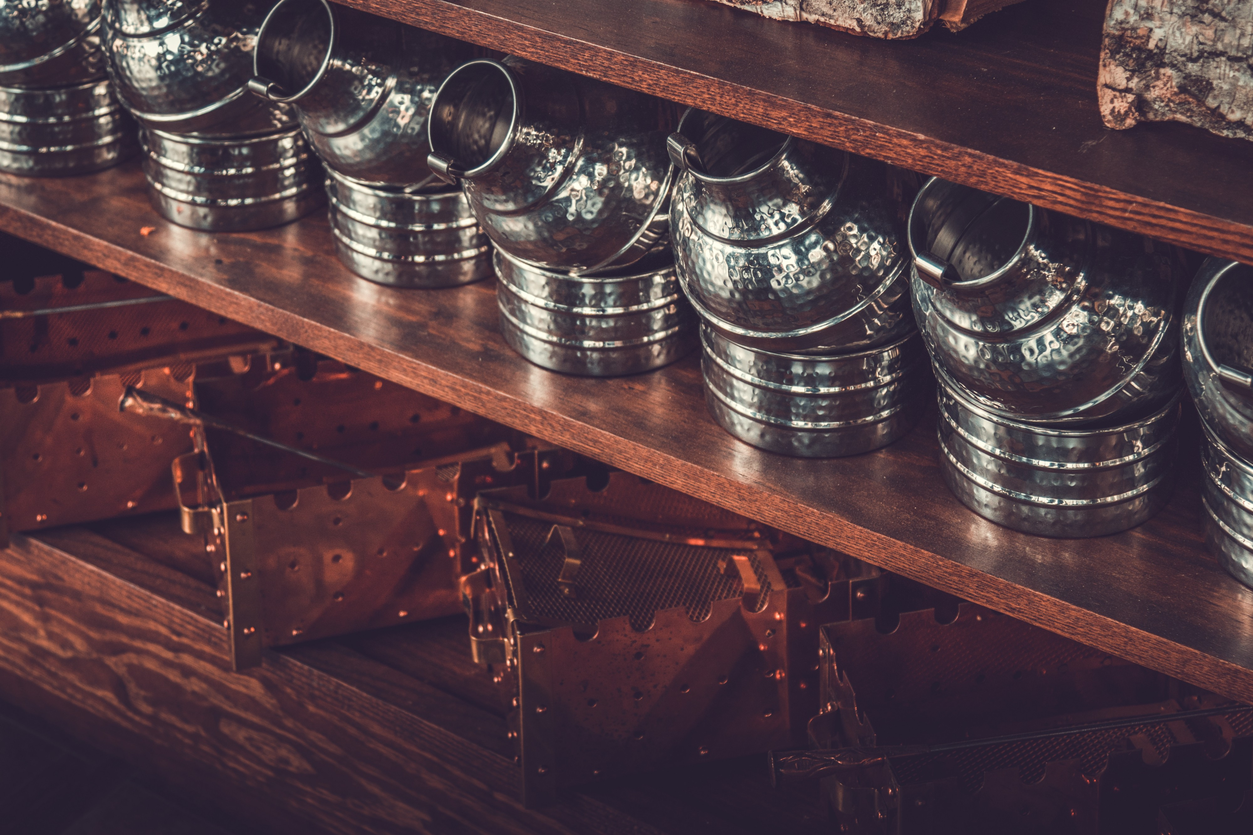 Image of Turkish coffee sets placed in two rows on a shelf