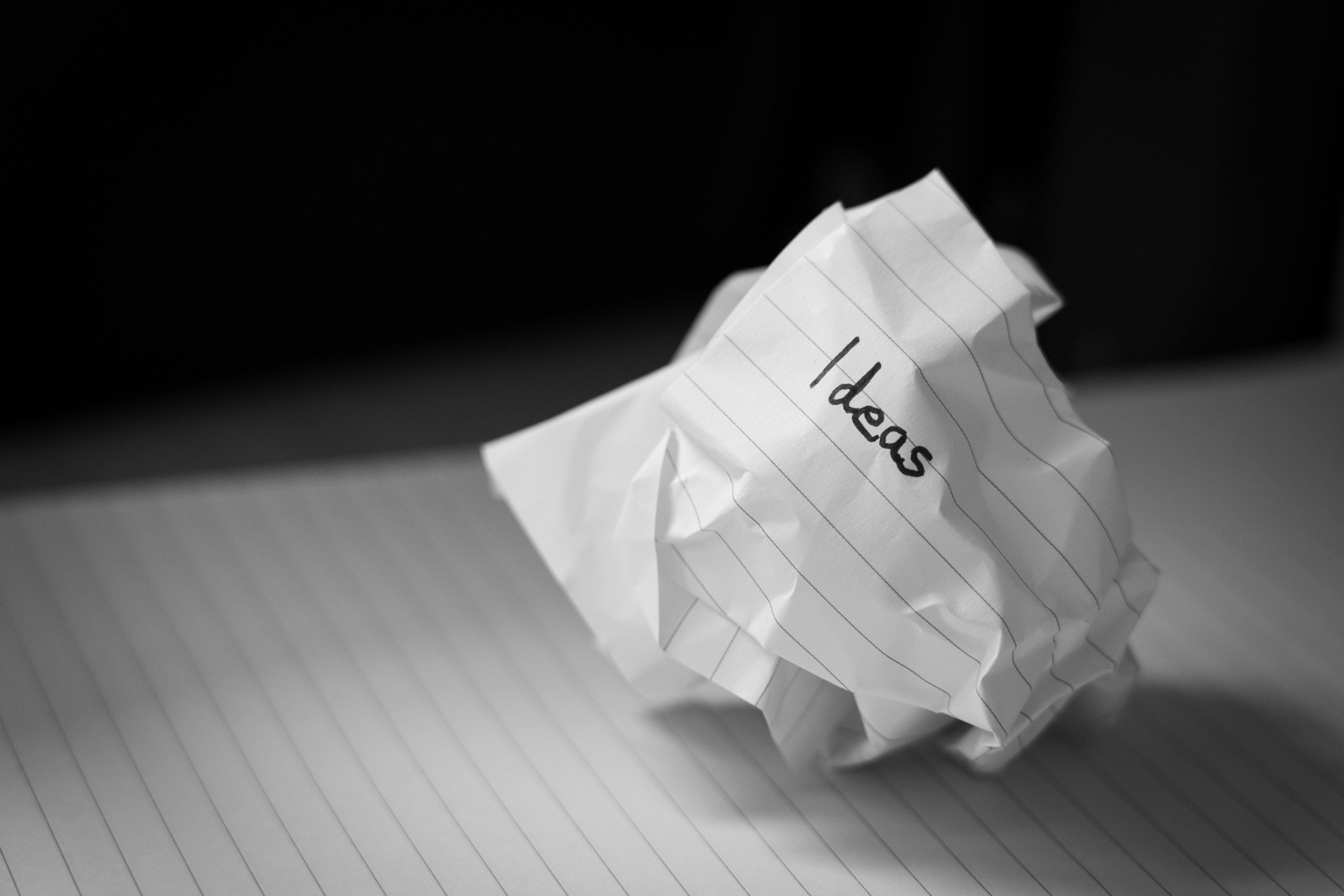 Crumpled paper with the word 'ideas' written on it showing thoughts create actions and they in turn solidify those thoughts