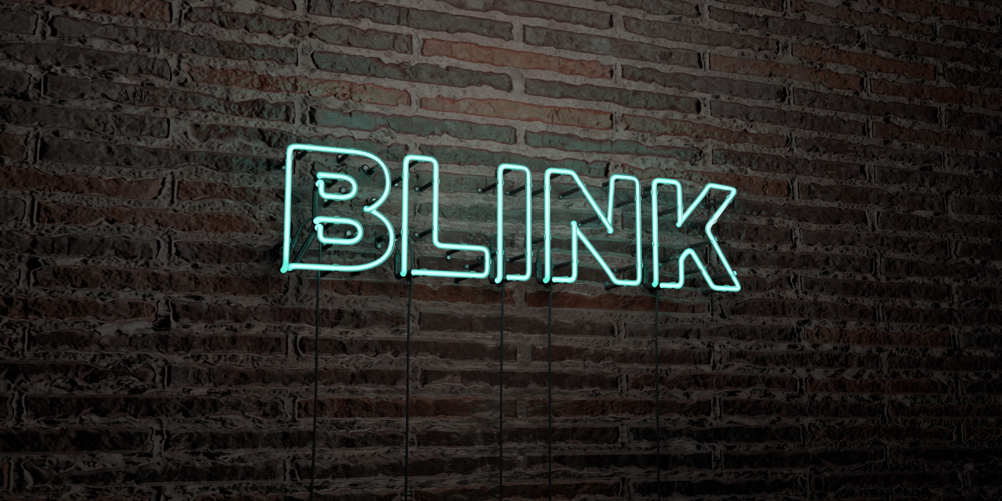 Brick wall with the word BLINK in allcaps in blue neon sans serif shadow text