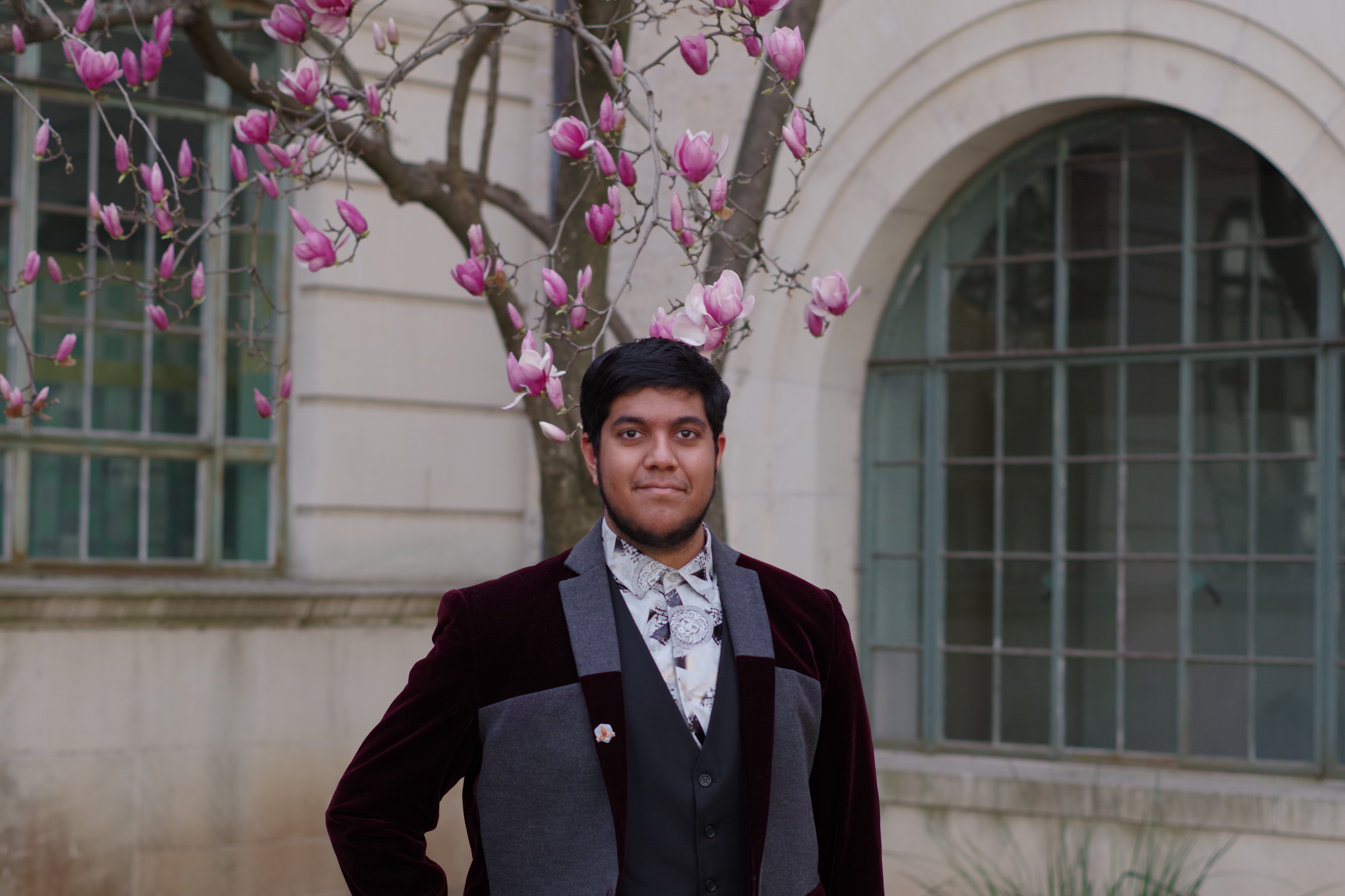 Maher Rahman wears a black and grey suit jacket while standing in front of a skinny tree with pink blooms