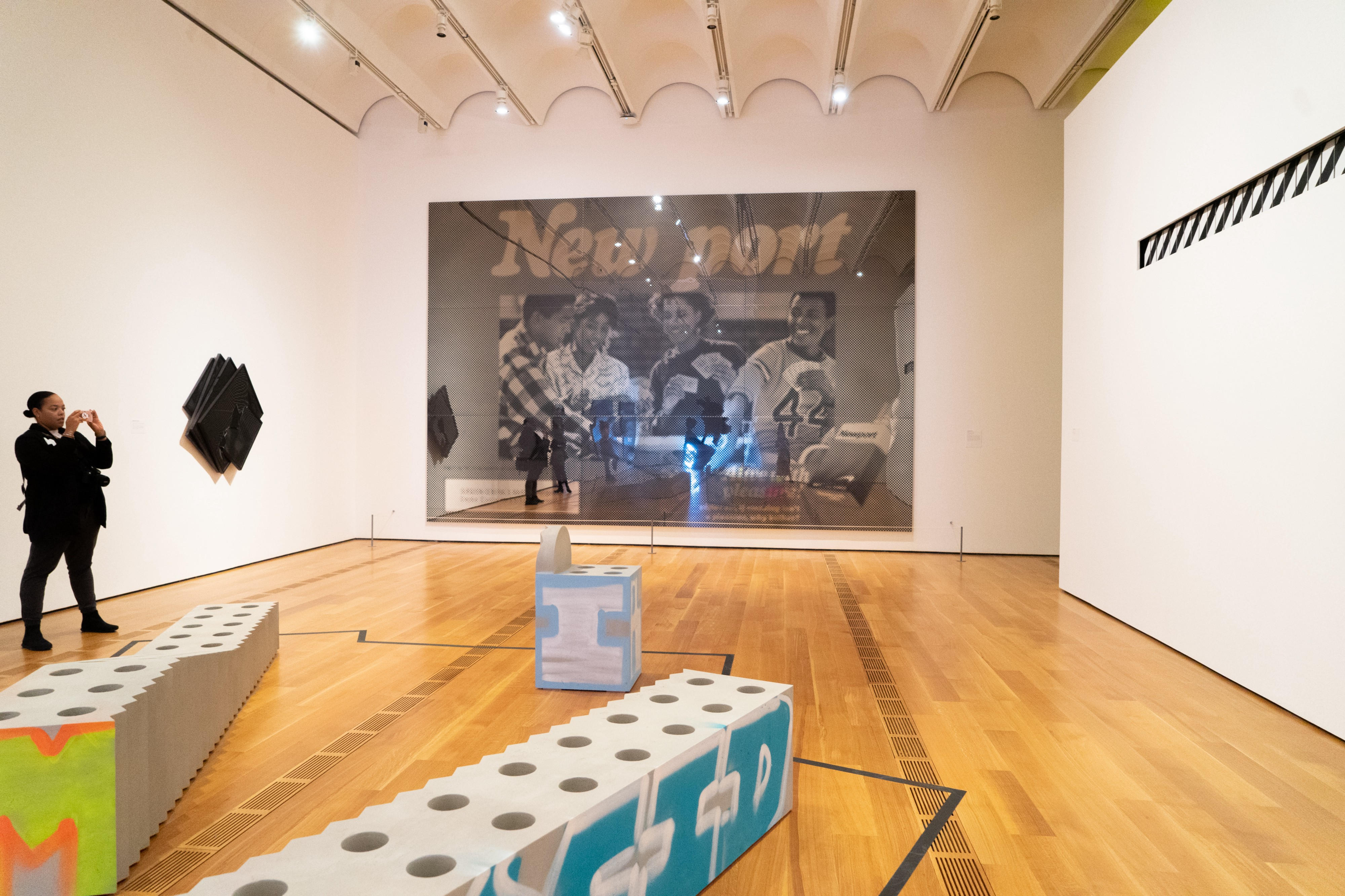 Installation view of works on the floor and wall at the Virgil Abloh exhibition at the High Museum of Art.